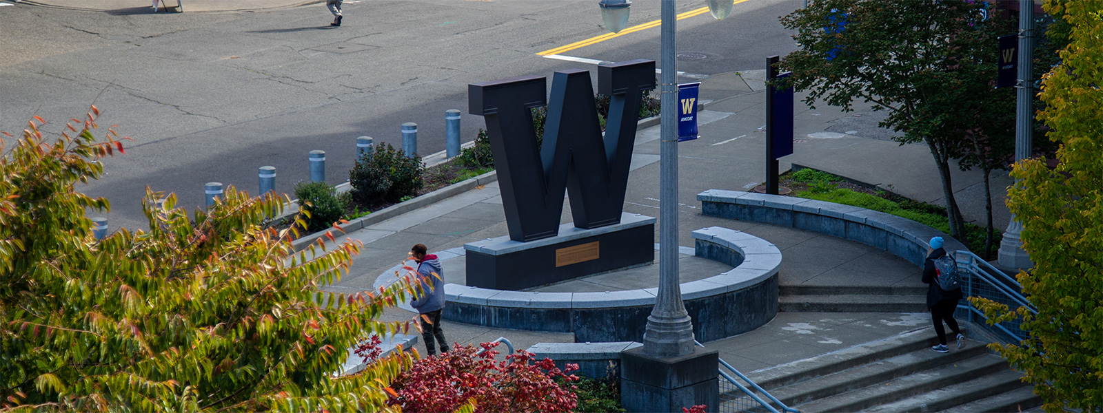 Image of UW Tacoma steel W in fall
