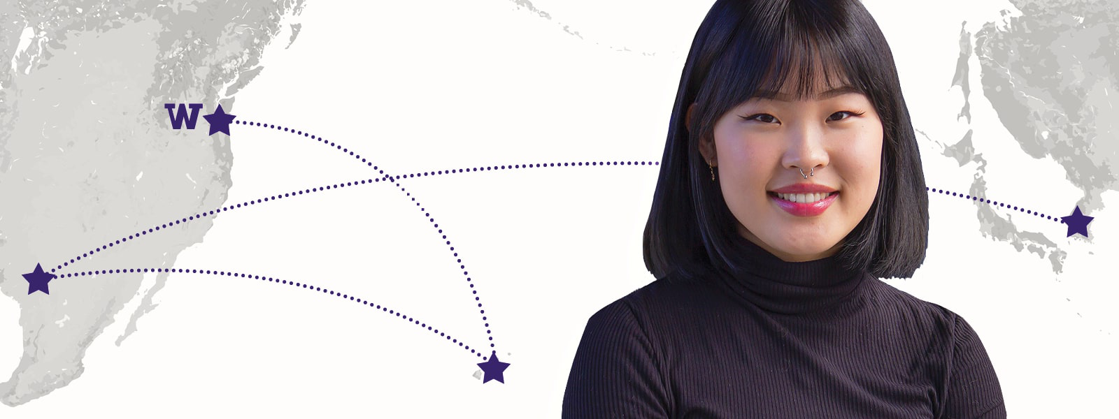Image of UW Tacoma student Seonhwa Pak with a world map behind her.